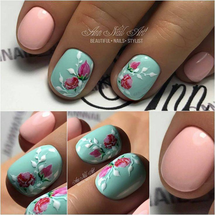 @annnail_art -  Нежные ноготки С цветочками #деталидизайна#идеиманикюра  ОЦЕНИТЕ старания  мастера от 1 до 10 в комментариях