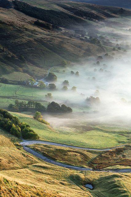 Valley Mist, Hope Valley, Peak District, England, UK, Travel via Ben Rogers