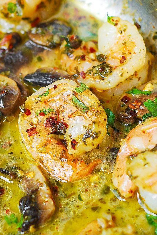 Pesto Shrimp with Mushrooms
