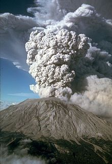 1980. Eruption of Mt. Saint Helens. An eruption column rose 80,000 feet (24,400 m) into the atmosphere and deposited ash in 11 U.S. states.[