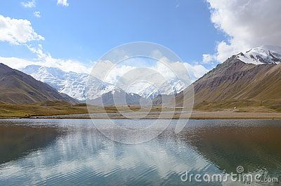 Lake in front of Lenin Peak, on Onion Field, Kyrgyzystan