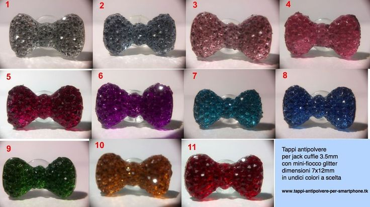 Tappo antipolvere fiocco glitter bowknot jack 3.5mm Samsung LG Sony _OFFERTA 3x2