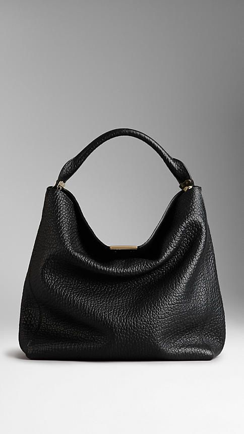Medium Signature Grain Leather Hobo Bag | Burberry                                                                                                                                                      More