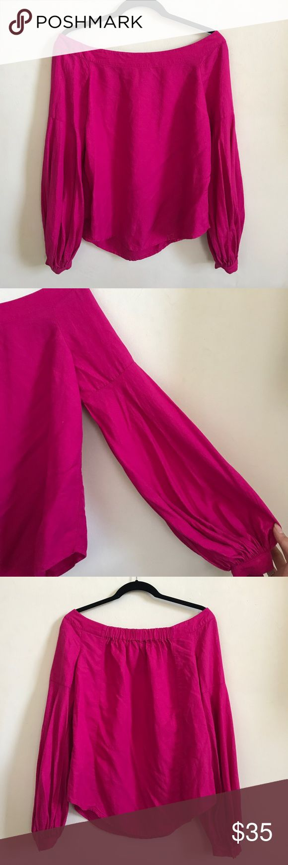 Anthropologie off the shoulder magenta blouse Off the shoulder blouse with slight balloon sleeve and back elastic for comfortable fit. Bright and vivid magenta color, striking with white jeans or tucked into a skirt. Worn lightly one time for an event. Anthropologie Tops Blouses