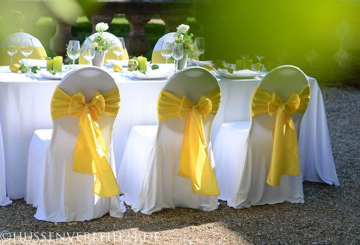 Stuhlhusse Granada Schleifen Deko grün gelb Rückansicht  (5)