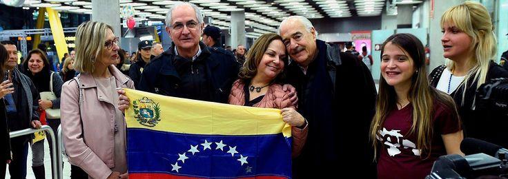 Ledezma denuncia tras llegar a Madrid que Venezuela esta sometida a la violencia del poder