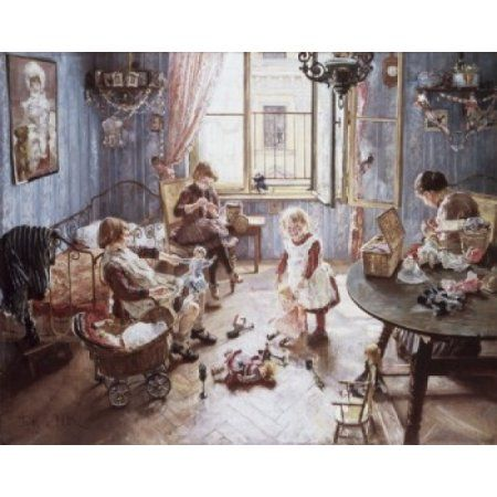 Nursery Fritz Karl Hermann von Uhde (1848-1911 German) Canvas Art - Fritz Karl Hermann von Uhde (24 x 36)