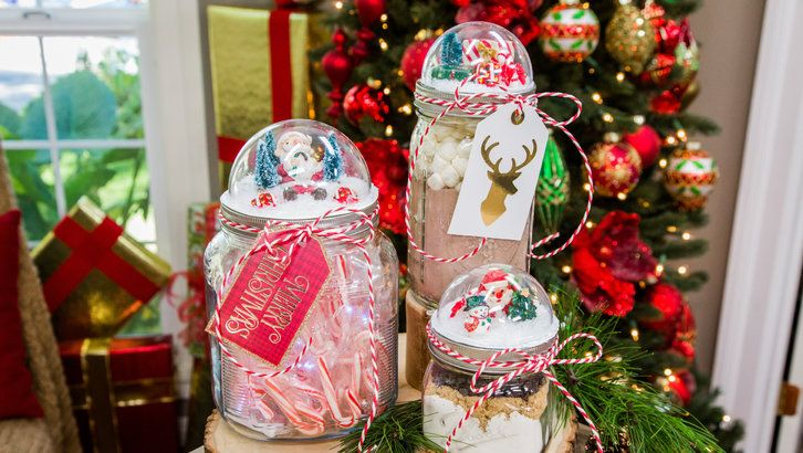 """Make your own mason jar snowglobe lid in honor of """"Christmas in Evergreen."""" Home & Family's Paige Hemmis shares the how-to for this easy DIY! #CountdownToChristmas #HallmarkChannel"""
