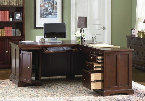 """Home Office L-Shape Computer Writing Desk with Storage by Coaster Home Furnishings. $1206.73. Finish: Cherry. Right Desk: 50""""x22""""x30 1/2"""". Left Desk: 68""""x30""""x30 1/2"""". Simple Assembly Required.. Solid Wood and Veneers. This beautiful L shaped desk offers plenty of workspace for your home office. Desk features computer storage and keyboard tray, as well as file drawers to keep you organized. Pull out trays on each side also add additional functionality.Some assembly may be required..."""
