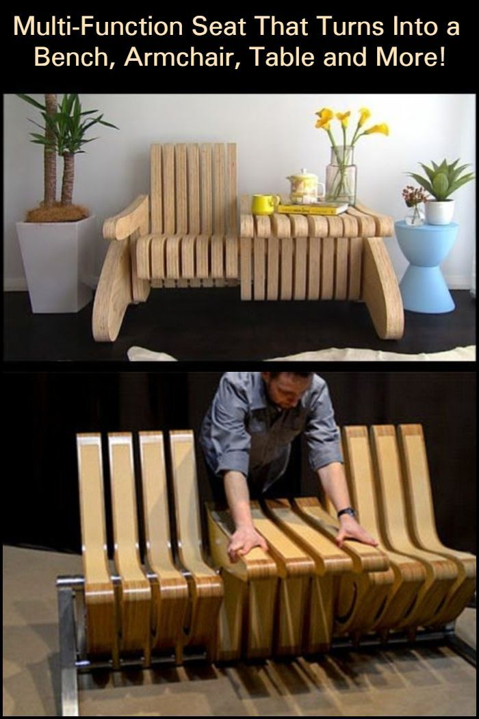 Multi Function Seat Turns Into Bench Armchair Table And More Creative Furniture Diy Furniture Projects Furniture