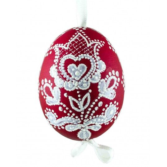 Hens  Easter egg hand painted by needle, made  by polish folk artist from Lower Silesia.