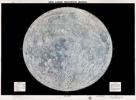 MP20 Vintage 1960's USAF Lunar Moon Map Poster Re-Print