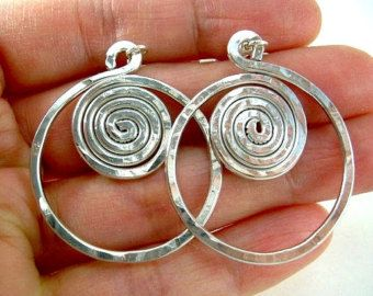 Wire Jewelry Wire Earrings Wire Wrapped Jewelry Handmade Aluminum Jewelry Silver Earrings Silver Jewelry Hammered Earrings Clip On Avail.