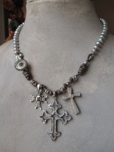 SALE Diamond Cross freshwater pearl necklace  Boho by slashKnots