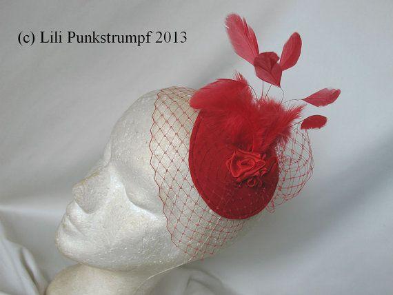Fascinator red coquetips bibi veil veiling headpiece sur Etsy, 29,00€