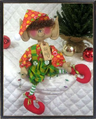 "Primitive Raggedy Christmas 15""~""ELF ANDY""~Santa's Littlest Elf~PATTERN #313"