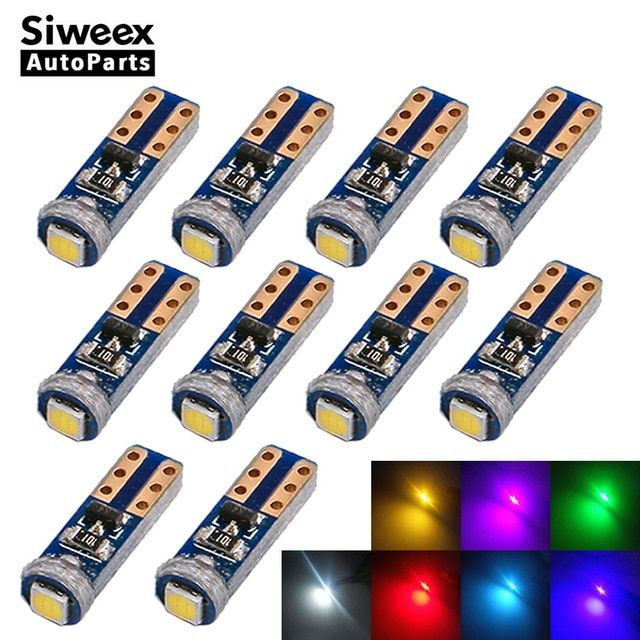10x W3w T5 Socket 1 Smd 3030 Car Led Bulbs Canbus Error Free Instrument Light 12v White Blue Green Pink Red Yellow Ice Blue Lamp Re Blue Lamp Led Bulb Ice Blue