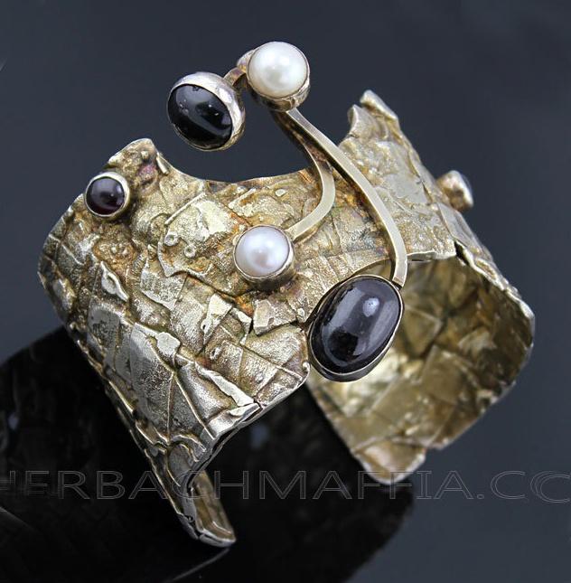 Cuff Bracelet   Rachel Gera.  Sterling silver, onyx, garnet, pearls and gold wash.  ca. 1950s