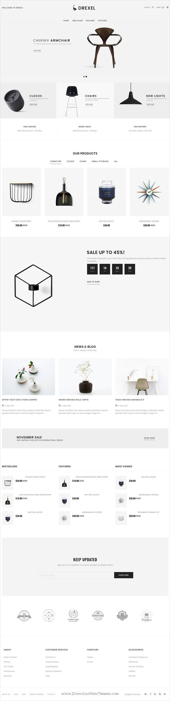 Drexel is clean and modern design 9in1 responsive #Magento theme for minimalist #interior shop #eCommerce website download now..