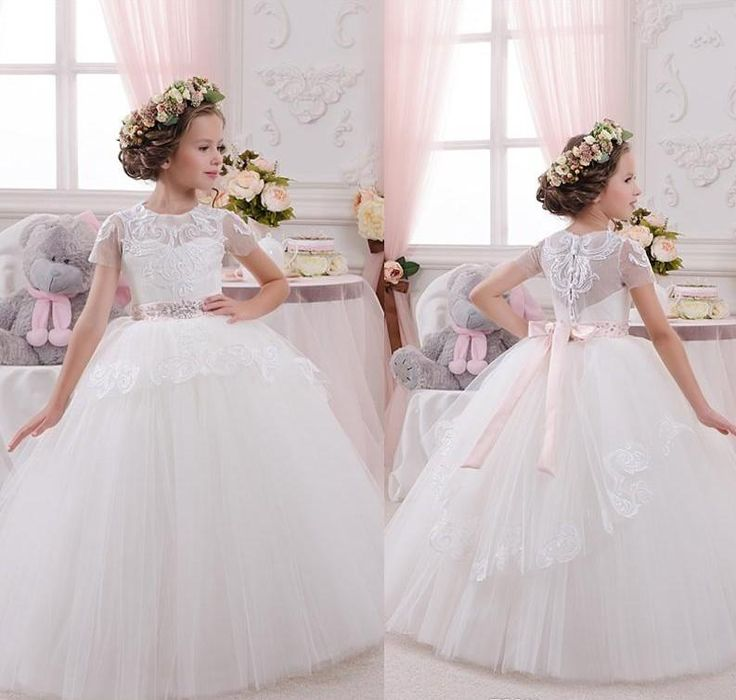 2016 New Princess Flower Girl Dresses For Weddings Cap Sleeve Ball Gown Floor Length Cheap Pageant First Communion Dress For Teens Child Brown Flower Girl Dresses Cheap Flower Girls Dresses From Modeldress, $70.5| Dhgate.Com
