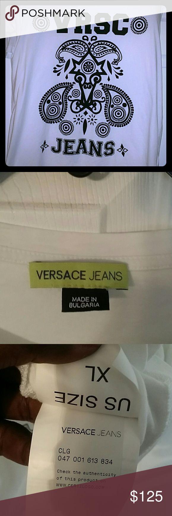 Versace T-shirt men's sz XL Mens 100% authentic Versace T-shirt w/black rhinestones Versace Shirts