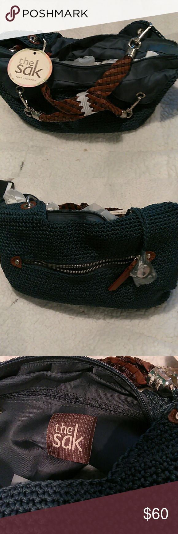 "Indio sak satchel large shoulder bag Polypropylene Crochet?  100% Man made lining? Zipper closure.? 10"" shoulder drop? 10.5"" high? 13.5"" wide? L 16.5""? W 5""? H 11""? Strap drop: 10.5""?  Front zip pocket? Back slit pocket? Lining features a back wall zip pocket and two multi functions pockets. sak Bags Shoulder Bags"