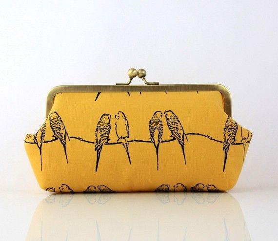 Aww how sweet: Birds Prints, Custom Pur, Birds Theme, Cute Birds, Handbags, Birds Clutches, Three Little Birds, Coins Pur, Yellow Birds