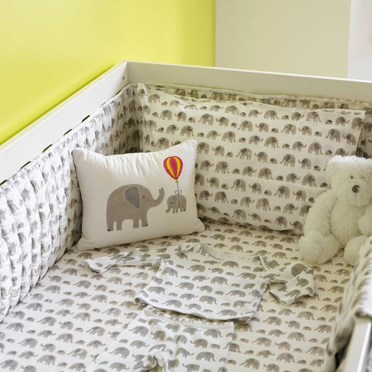 Grey Elephant Cot Bed Bumper, Elephant Bedding and Kids Bedding | Lulu and Nat