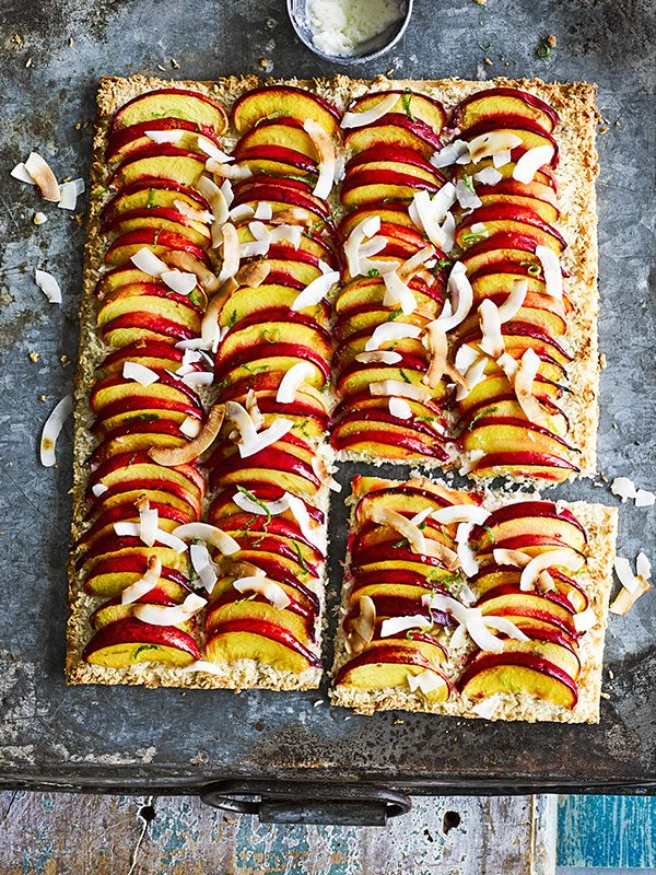 This nectarine, coconut and lime tray-tart is easy to make, vegetarian and gluten-free. Served with a scoop of coconut ice cream, it makes a great pud.
