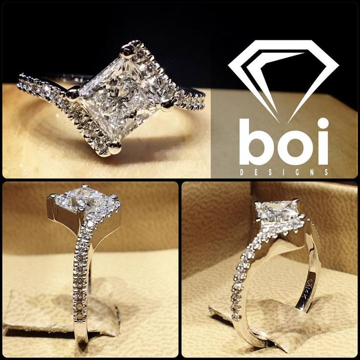 This design was made with a princess cut that I rotated. The diamond was placed in a 4 claw setting. I then curled the shank to each point and added diamonds in an Italian pave setting. #diamond #diamonds #wedding #weddings #engagement #ring #rings #bride #brides #jewellery #jewelry #princess #diamondboi