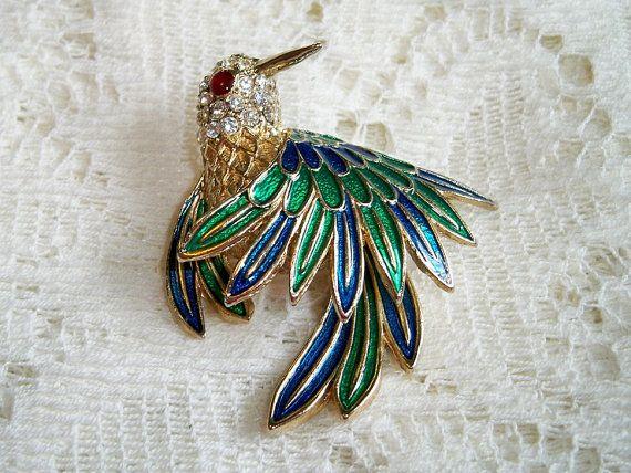 Beautiful 1960s Du0027Orlan Austrian Crystals Enamel Hummingbird Brooch Red Glass  Cabochon By BlackRain4, $89.99
