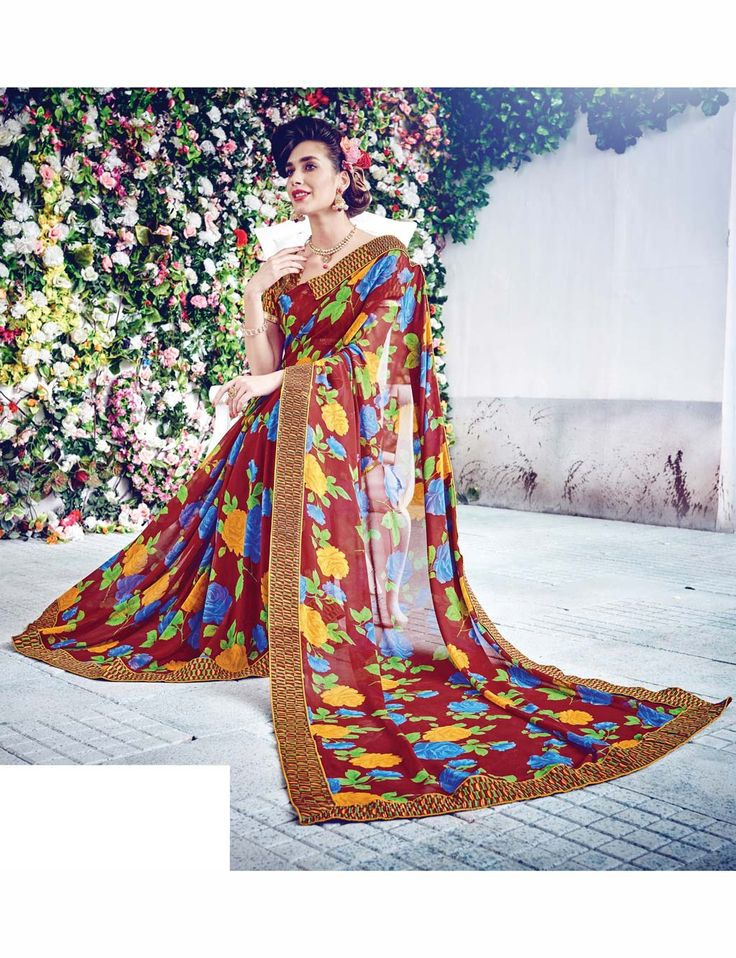 Maroon Georgette Printed Saree With Blouse 69736