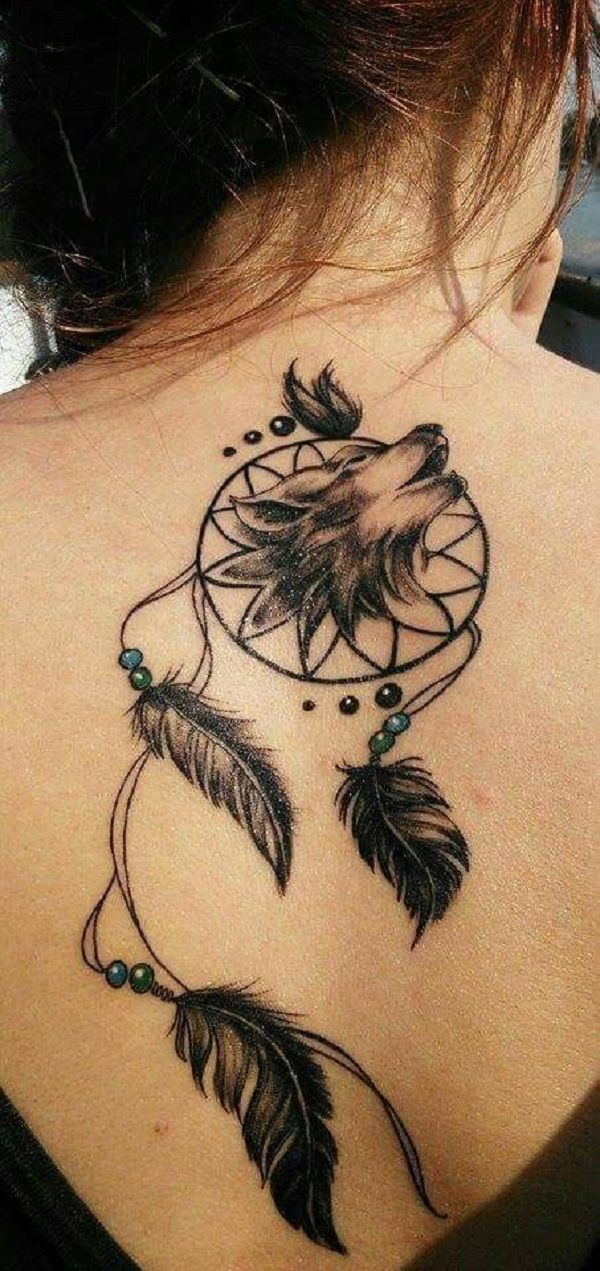 Dreamcatcher with Wolf. Wolves in the tattoos depicts strength. So the dreamcatcher coupled with the wolf offers a meaningful tattoo design.
