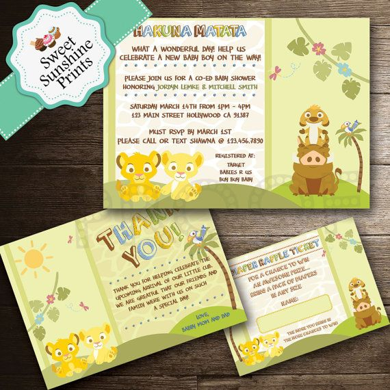 Lion King Baby Shower Invitation Thank You by SweetSunshinePrints