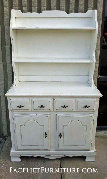 Small Maple Hutch in distressed Antiqued White.  New pulls. From Facelift Furniture's Hutches, Cabinets & Buffets collection.