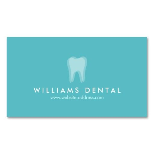 Modern Dentist Aqua Tooth Logo, Dental Office Double-Sided Standard Business Cards (Pack Of 100)