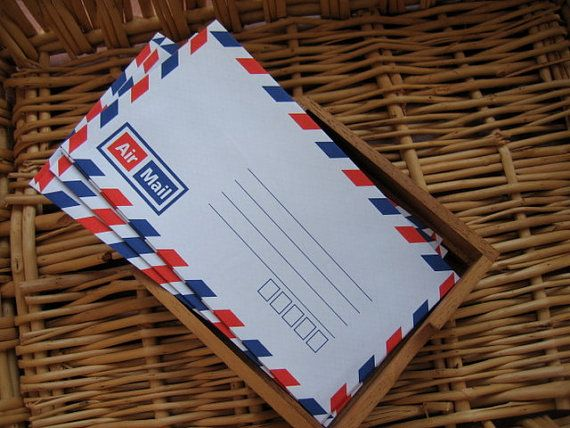 Set  of 25 Vintage Style Thai  Air Mail by handmadeconcept on Etsy, $3.50