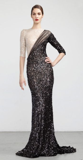 modern take on sari design inspiration (love the combo of sequins trompe l'oeil and sheer draping) -- Abed Mahfouz
