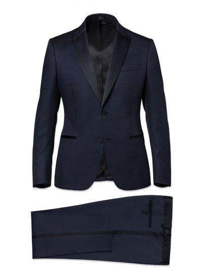 Smoking slim fit homme en laine mélangée : Achetez votre smoking homme bleu pétrole 15ES3DAKK-D539/33 et découvrez la collection de costumes hommes De Fursac.