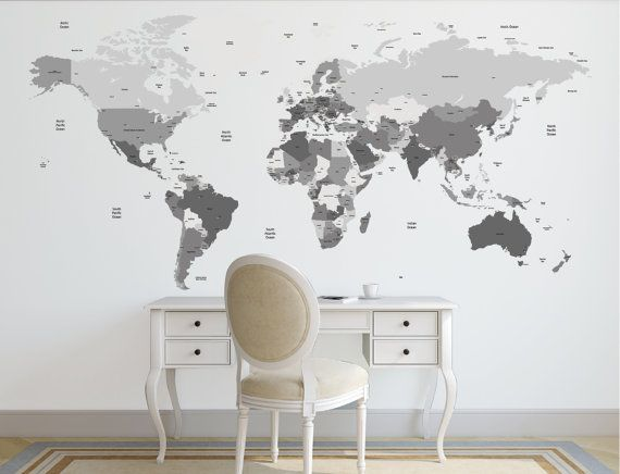 Wany color  orld map decal. Political world map Wall Decal. Country names map Wall Sticker. Removable