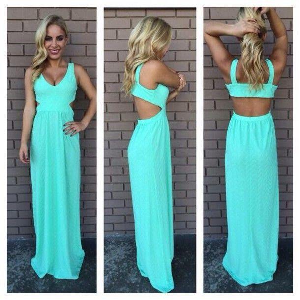 Sleeveless Backless Green Ankle Length Dress