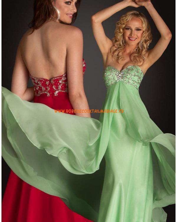 Sans bretelle col en cœur robe verte rouge cristaux robe de soirée 2013 mousseline