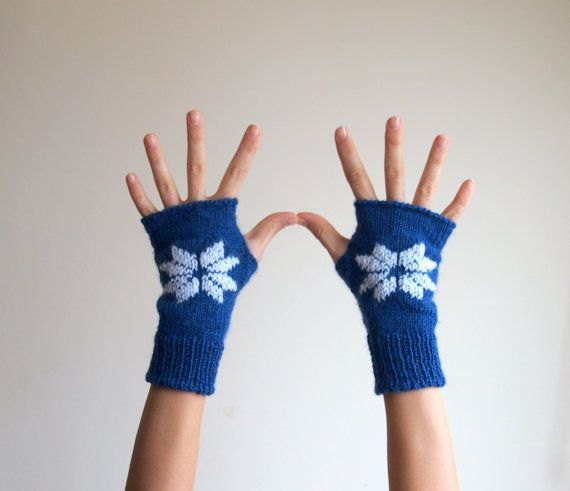 Fingerless mittens cobalt blue gloves with white by Accessorise, $29.00