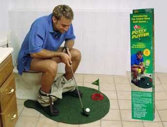 Potty Putter Golf Mat.. I think my husband would get a kick out of this as a Christmas gift!