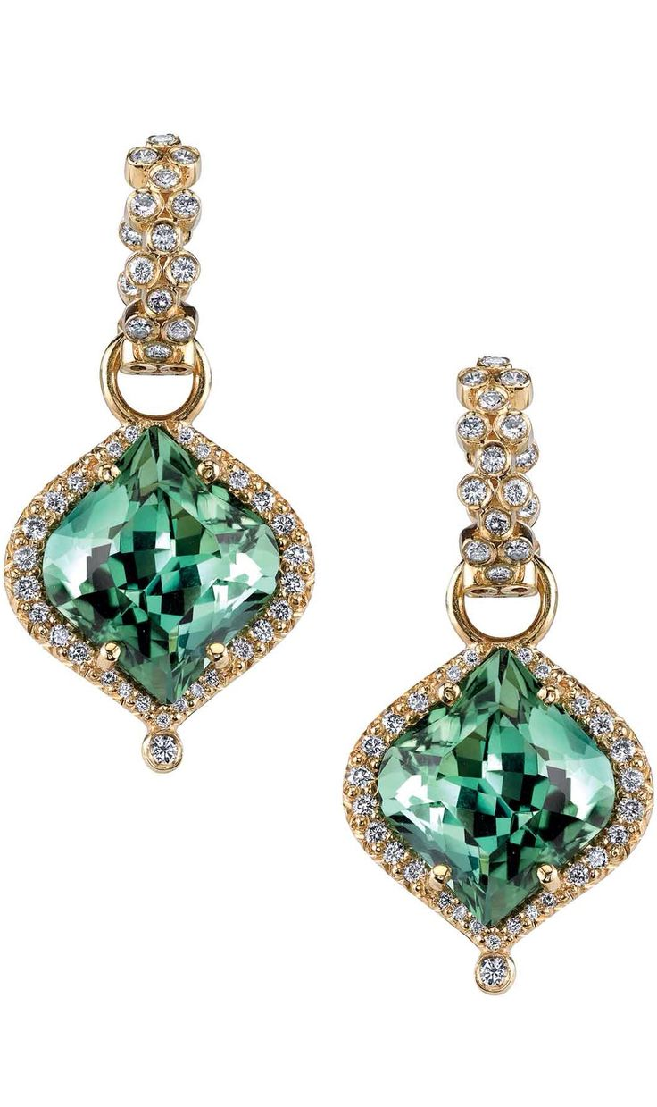 Tourmaline & Diamond earrings by Erica Courtney.