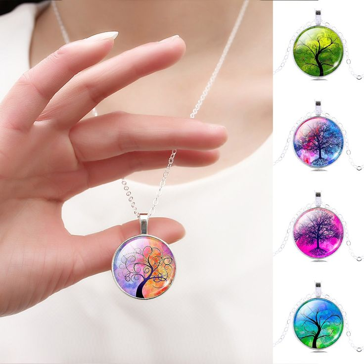 Harajuku Style Illusion Tree of Life Glass Cabochon Pattern Pendant Necklace with Silver Color Necklace Chain for Women //Price: $1.38 & FREE Shipping //     #hashtag3