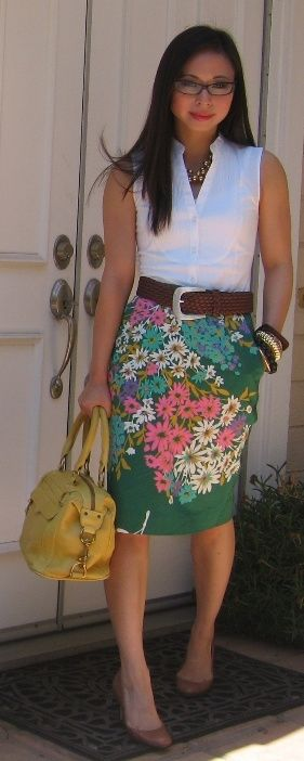 Floral Skirt and a plain shirt with some great accessories for a casual Friday.