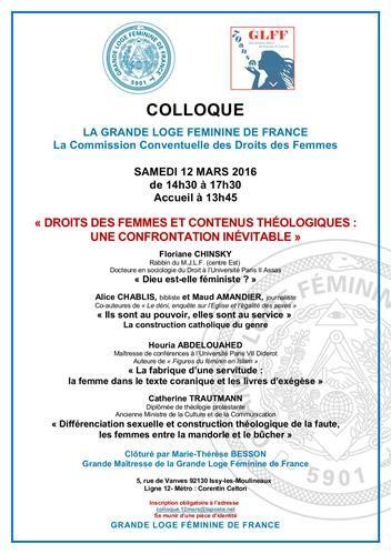 Colloque GLFF : Droits des femmes et contenus théologiques