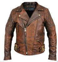 Classic Diamond Vintage Mens Motorcycle Brown Distressed Leather Jacket !!!!