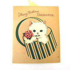Vintage Happy Birthday Greeting Card Norcross Kitten Hat Box 1945-46 Daughter